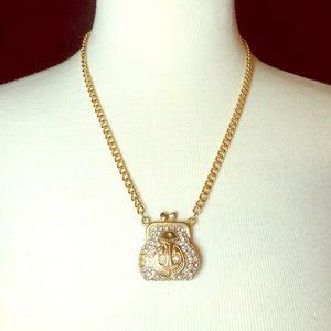 Jewelry - 🎉HP🎉 Nautical Handbag Gold Rhinestone Necklace